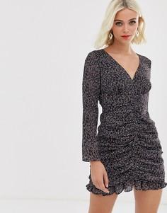 Присборенное платье мини с цветочным принтом Stevie May Formation - Черный