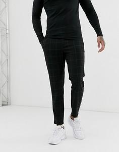 Зауженные укороченные брюки черного цвета в клетку Bershka - Черный