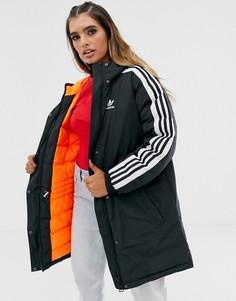 Черная парка с тремя полосками adidas Originals - Черный