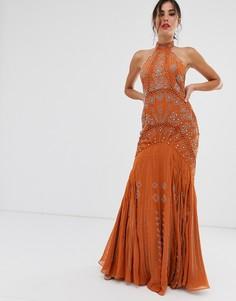Платье макси с годе и высоким воротом ASOS DESIGN - Мульти