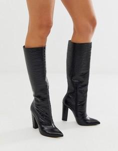 Черные кожаные сапоги на блочном каблуке с рисунком крокодиловой кожи ALDO - Черный