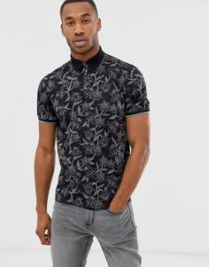 Черная футболка-поло с цветочным принтом Ted Baker - Черный