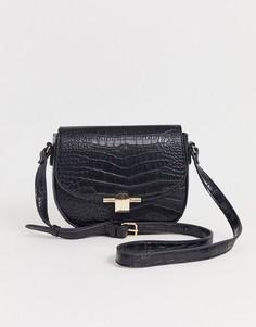Черная сумка через плечо с отделкой под кожу крокодила Pimkie - Черный