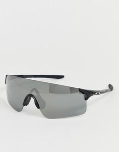 Черные матовые солнцезащитные очки с черными стеклами Oakley EVZero Blades - Красный