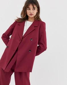 Двубортный удлиненный блейзер из ткани с добавлением шерсти Selected Margot - Красный