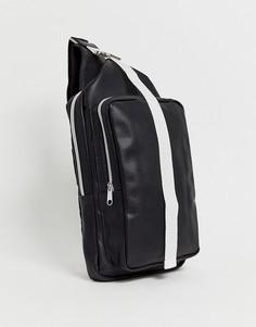 Черный рюкзак из искусственной кожи с ремешком через плечо ASOS DESIGN - Черный