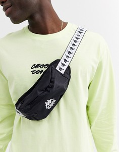 Черная сумка-кошелек на пояс с логотипом на ремешке Kappa 222 Banda Anais - Черный