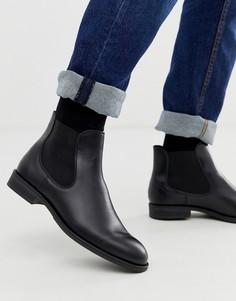 Черные кожаные ботинки челси Selected Homme - Черный