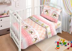 Комплект постельного белья Funecotex Милые сони, цвет: розовый 3 предмета