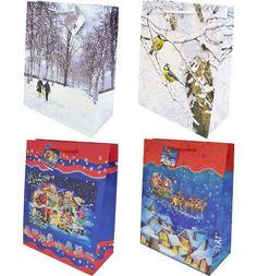 Сумка подарочная Winter Wings бумажная ламинированная с блестящей крошкой 10 дизайнов, 32 см