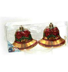 Елочное украшение Winter Wings Энерджи красно-золотая Колокольчики 2 шт 11 см