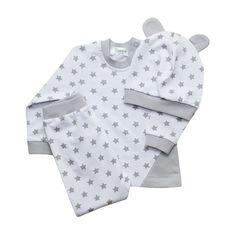 Комплект кофта/брюки/шапка Takro Звезды, цвет: белый