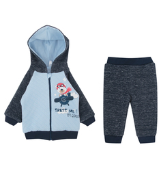 Комплект джемпер/брюки Leader Kids Мишка пилот, цвет: голубой/синий