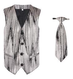 Комплект жилет/галстук Милашка Сьюзи, цвет: бежевый/черный
