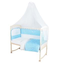 Комплект постельного белья Leader Kids Зайка с мамой 7 предметов, цвет: голубой
