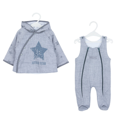 Комплект куртка/полукомбинезон Карапузик Джинс, цвет: серый