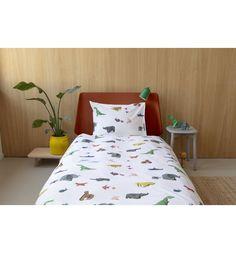 Комплект постельного белья Snurk Бумажный зоопарк, цвет: желтый/белый 2 предмета