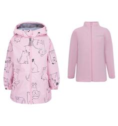 Комплект ветровка/полукомбинезон Crockid, цвет: розовый