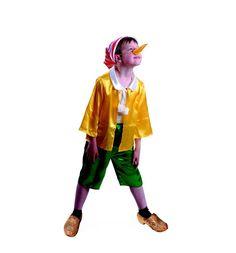 Карнавальный костюм Батик Буратино бриджи/колпак/куртка/нос, цвет: желтый/зеленый