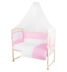 Комплект постельного белья Leader Kids Зайка с мамой 7 предметов, цвет: розовый