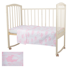 Комплект постельного белья Baby Nice Облака, цвет: розовый 2 предмета