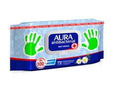 Влажные салфетки Aura антибактериальные, 72 шт
