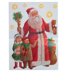 Панно Winter Wings Наклейка Дед Мороз и дети 40 см