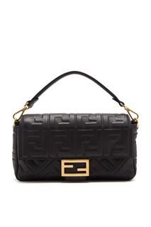 Черная сумка Baguette с монограммами Fendi