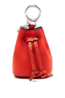 Красная кажаная подвеска Fendi