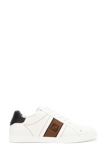 Белые кеды с контрастной отделкой Fendi