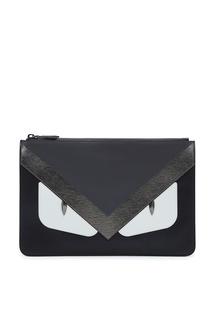 Черный кожаный клатч с отделкой Fendi