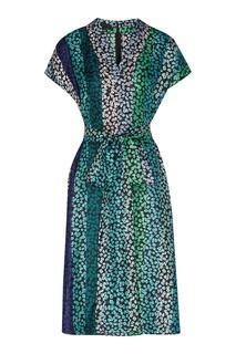 Зеленое платье с цветочным принтом Escada