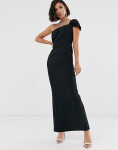 Черное платье макси на одно плечо Yaura - Черный