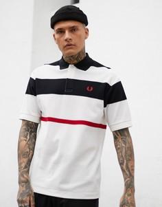 Белая футболка-поло в сетчатую полоску Fred Perry - Белый