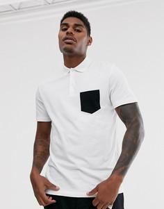 Белая футболка-поло с контрастным карманом ASOS DESIGN - Белый