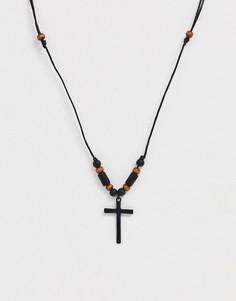 Колье с подвеской-крестом Classics - Черный