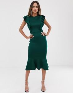 Платье миди с оборками Club L Lodon - Зеленый