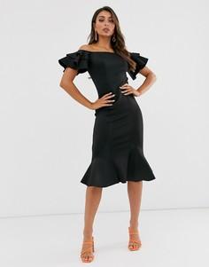 Черное платье миди с открытыми плечами, оборками и юбкой-годе Laced In Love - Черный