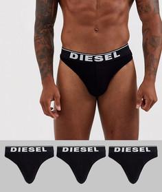 Черные стринги с логотипом Diesel - Набор из 3 пар - Черный