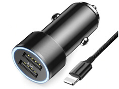 Зарядное устройство Baseus Small Screw 3.4A Dual-USB Car Charging With Lightning Cable Set Black TZXLD-A01