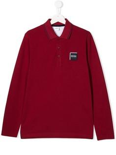 Boss Kids рубашка-поло с нашивкой-логотипом