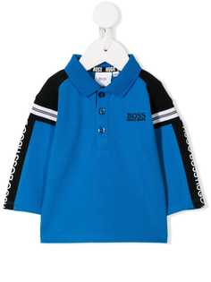 Boss Kids рубашка-поло с логотипом и полосками