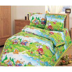 Комплект постельного белья Артпостель В гостях у сказки, цвет: зеленый 4 предмета