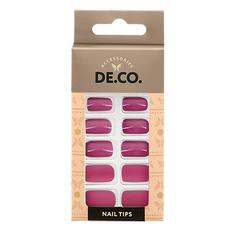Набор накладных ногтей DE.CO. VELOUR berry pink 24 шт+ клеевые стикеры 24 шт Deco
