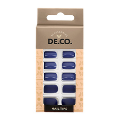 Набор накладных ногтей DE.CO. VELOUR blueberry 24 шт+ клеевые стикеры 24 шт Deco