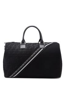 Черная дорожная сумка с отделкой Fendi