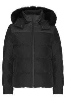 Черная стеганая куртка с капюшоном Fendi