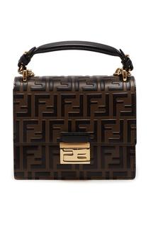 Коричневая сумка с логотипами Fendi
