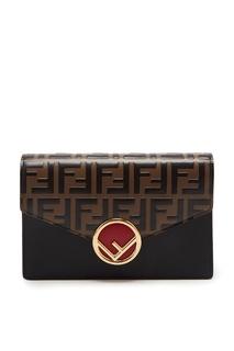 Кожаный клатч с логотипом Fendi