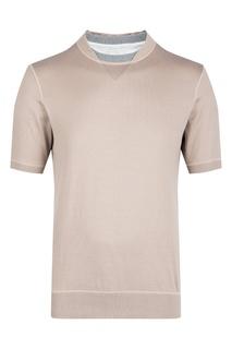 Светло-коричневая футболка с двойным воротом Eleventy